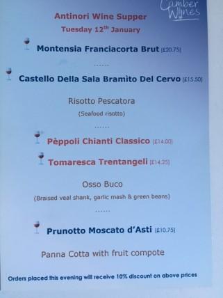 Antinori menu