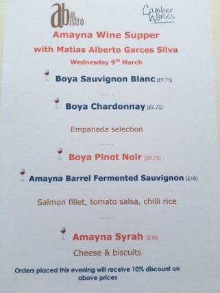 The wine & food menu for the evening.